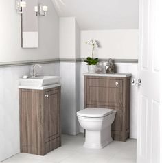 Cloakroom wooden bathroom furniture from Utopia Bathrooms. Bathroom Cupboards, Bathroom Storage, Bathroom Ideas, Gray Vanity, Rustic Cabinets, Bathroom Furniture, Wooden Bathroom, Bathroom Design Small, Grey Bathrooms