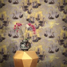 Feathr Swan Lake Wallpaper Gold by HKK | 011001340501 | £119.00