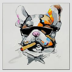 Oil Painting Cool Dog Style , Canvas Material with Stretched Frame Ready To Hang SIZE:70*70CM. 2016 - $39.99