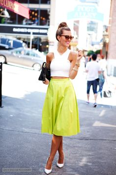 Love this. White heels white top neon skirt