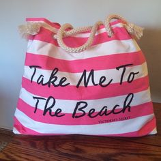 "Victoria's Secret Beach Bag New without tags. Never carried. Large canvas bag has two over the shoulder rope straps and is fully lined. Has side snaps to make the opening smaller. Bag measures 21"" inches X 15"" inches. Victoria's Secret Bags Totes"