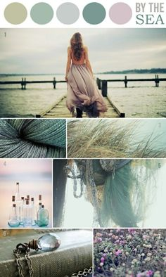 """by the sea"" ocean tones color palette inspiration board"