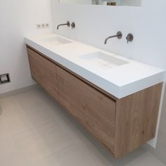 Taps extend from wall leaving worktop clutter free and easier to clean Wood Bathroom, Bathroom Toilets, Bathroom Renos, Bathroom Furniture, Bathroom Interior, Small Bathroom, Wood Furniture, Bathrooms, Bad Inspiration