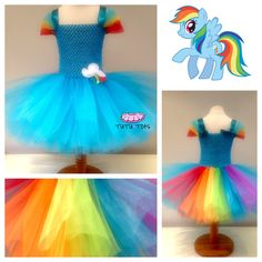 Girls My Little Pony Rainbow Dash inspired tutu Dress on Etsy, $33.94