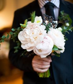 fluffy peony bouquet: make all white, fill in with garden roses to cut down on costs and use herbs instead of berries