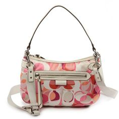"""Coach Daisy Scarf Print Optic Signature Kaleidoscope Groovy Crossbody Bag http://www.ashpants.com/cheap-coach  Made of signature fabric. Approx. 12"""" x 7 1/2"""" x 1"""". Approx. 16"""" handle with 8"""" drop. Includes adjustable strap for crossbody wear. Zip-top closure. Interior zip, cell phone, and multifunction pockets. Exterior front zip pocket. Fabric lining. Silver tone hardware."""