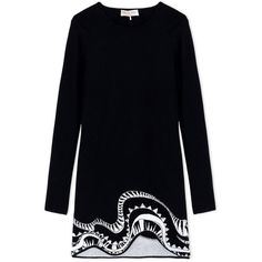 Emilio Pucci Jacquard Sweater Dress ($1,250) ❤ liked on Polyvore featuring dresses, sweater dress, print dress, long sleeve pattern dress, uneven hem dress and longsleeve dress