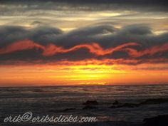 Sunset over the ocean beach in  Cambria California.  #central coast #pacific ocean #breathtaking skies and clouds ~♡