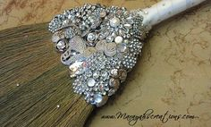 Bezeled and Blinged Collection-Jeweled Wedding Broom 'The Sarah O'  #jumpingthe broom