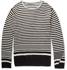 HAIDER ACKERMANN Striped Cotton And Cashmere-Blend T-Shirt. #haiderackermann #cloth #t-shirts