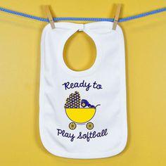 Softball Baby Bib Ready To Play Softball | Softball Baby Bibs | Softball Baby Clothing  - white