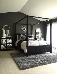 Elegant And Modern Master Bedroom Design Ideas Bedroom Black Design Inspiration For A Master Bedroom Decor 2 within Elegant And Modern Master Bedroom Design Ideas Accent Wall Bedroom, Home, Bedroom Makeover, Home Bedroom, Dream Bedroom, Black Master Bedroom, Apartment Decor, Modern Bedroom, Couple Bedroom