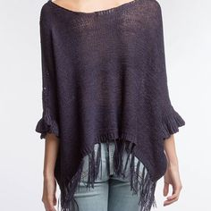 Sweaters - Knit sweater with fringe