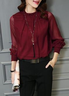 Lantern Sleeve Wine Red Chiffon Blouse on sale only US$24.95 now, buy cheap Lantern Sleeve Wine Red Chiffon Blouse at lulugal.com