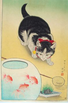 Cat and Three Goldfish by Koson