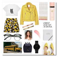 """""""Campus Chic: First Day Of School"""" by wynterrosette ❤ liked on Polyvore featuring Boohoo, Barneys New York, Talbots, CLUSE, Yves Saint Laurent and MANGO"""