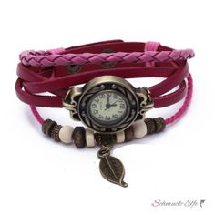 Leder Armbanduhr  Vintage Blatt  magenda Pink   im Etui