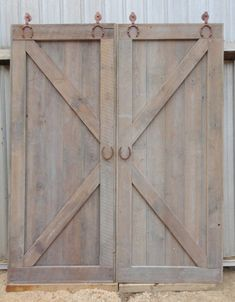 Double Sliding Barn Doors with Horseshoe Hardware made of Reclaimed Pine Barn Wood Double Sliding Barn Doors, Sliding Barn Door Hardware, Interior Barn Doors, Interior And Exterior, Reclaimed Barn Wood, Single Doors, Green Building, Leather Handle, Etsy