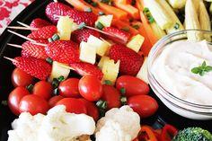Crudite Platter - fresh strawberry and pineapple sosaties!