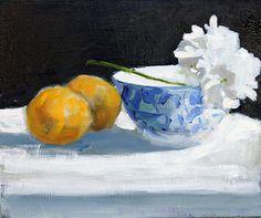 Lemons & Flower Still Life Painting Original Oil by HOomen on Etsy, $210.00