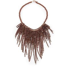 Brunello Cucinelli Beaded Fringe Necklace (113.545 RUB) ❤ liked on Polyvore featuring jewelry, necklaces, copper, sparkle jewelry, bead necklace, beading jewelry, fringe necklace and beads jewellery