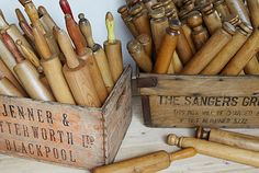 I love these vintage rolling pins... would love some of these hanging on my kitchen wall.