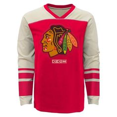 936aed40a Youth Chicago Blackhawks Long Sleeve Vintage Crew By CCM