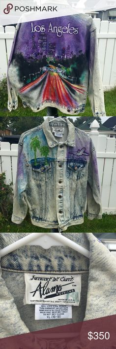 tony alamo los angeles painted vintage jacket 1987 this is a very rare tony alamo Los Angeles airbrushed hand painted jacket vintage from 1987 .   this jacket is a size xl there is a red paint spot on the arm, I have not tried to remove it I do not want to damage the jacket it's very un noticeable when on. this is a beautiful jacket with Swarovski crystals. tony alamo Jackets & Coats Jean Jackets