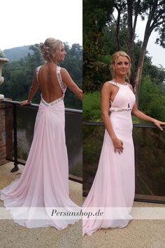 Rückenfreies Chiffon Ballkleid mit Perlen / Prom Dress/ Evening Dress