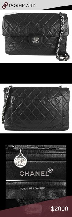 """Authentic Black Chanel Medium Flap Bag Includes: Chanel dust bag, Authenticity card Quilted lambskin leather Hardware: Polished silver Measurement:  11.5"""" x 8.25"""" x 3.5"""" inches Handle Drop: 18"""" in shoulder drop Origin: France Serial #: Rubbed off due to normal usage Exterior Condition: Quilted lambskin deflated  with some light scratches and light distressed marks on soft lambskin .   Interior Condition: Light scratches  inside.   Corners: Clean with light scuffing Handles/Straps: Minor…"""