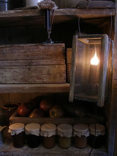 Sweet Liberty Homestead primitive barn lamp and canned goods