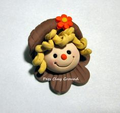 Fall Thanksgiving Scarecrow Bow Topper or Pendant