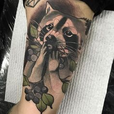 Neotraditional Raccoon Tattoo