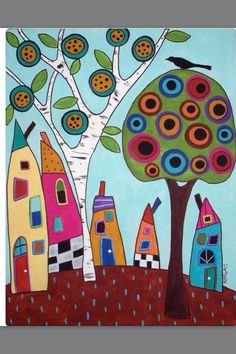 You are dealing with Karla Gerard, Maine Folk Art/Abstract Artist, Originator/Creator of concentric circles/flowers in trees paintings and in landscapes. Over of my original paintings are in worldwide collections. Karla Gerard, Tree Illustration, Happy House, Arte Popular, Needlepoint Canvases, Needlepoint Kits, Naive Art, Whimsical Art, Art Plastique