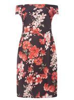 Womens DP Curve Plus Size Red Floral Bardot Shift Dress- Red