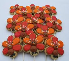 TURKEY PERSONALIZED Thanksgiving Holiday Decorated Sugar Cookie Favors 1 Dozen (12) on Etsy, $42.00
