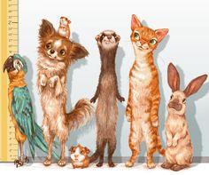 The lineup • • • #illustration #illustrator #design #draw #color #animals #pets #kidlitart #parrot #dog #hamster #guineapig #ferret #cat #bunny #childrensillustration #lineup #artwork #artist #art