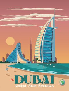 Dubai Travel poster vintage retro wall art print UAE skyline map minimalism