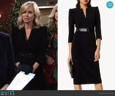 Ashley's black v-neck belted dress on The Young and the Restless.  Outfit Details: https://wornontv.net/97499/ #TheYoungandtheRestless