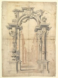 Two One Half Variants of a Design for Painted Wall Decoration with Arch and Perspective View Inside (recto). Negligible diagrams and compass drawn circle (verso).