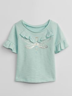 Gap Baby Ruffle Graphic Pullover Sweatshirt - M Little Girl Fashion Clothes, Baby Kids Clothes, Kids Fashion, Kids Girls Tops, Justice Clothing, Girls Blouse, Kids Prints, Kids Pajamas, Child Models