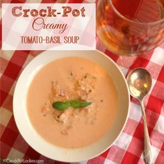 This recipe for Crock-Pot Creamy Tomato Basil Soup is delicious and so easy to make. Plus it is vegetarian too if you want it to be! A great soup to go with a grilled cheese sandwich!