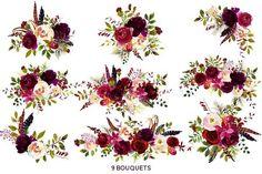 Boho Bordo Watercolor Flowers - Illustrations