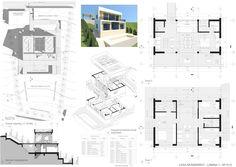 Casas en pendiente: 17 ejemplos de cómo adaptarse a un terreno inclinado - AboutHaus Patio Central, Floor Plans, How To Plan, Ferrari, Minimalist Home, Log Cabin Houses, Home Plans, House, Floor Plan Drawing