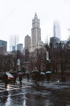 Rain, New York City, United States.