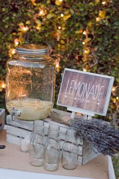 Tangled Inspired 21st Birthday: Rustic Lavender and Yellow. Easy diy lemonade dispenser for dessert table.