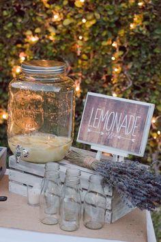 Tangled Inspired 21st Birthday: Rustic Lavender and Yellow. Easy diy lemonade dispenser for dessert table.