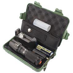Koly Linterna táctica Policía zoomable X800 XML T6 LED + 18650 + cargador + Caso