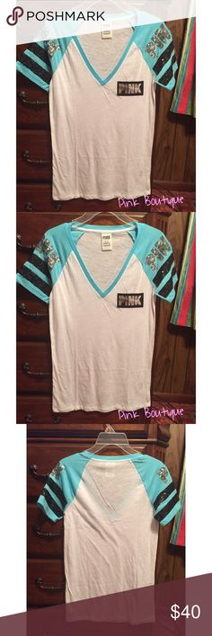 ✨P I N K  VICTORIA SECRET BLING SHIRT ✨P I N K  VICTORIA SECRET BLING SHIRT. Brand New. Size Medium. I ordered online so it doesn't have a tag attached. It hasn't been worn. PINK Victoria's Secret Tops Tees - Short Sleeve