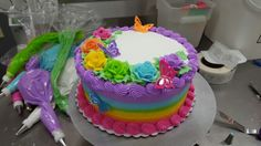 Rainbow layer cake look up my page lilsweets on Facebook Pretty Cakes, Cute Cakes, Cheesecakes, Basket Weave Cake, Sheet Cake Designs, Rainbow Layer Cakes, Chocolate Strawberry Cake, Cake Writing, Vintage Cakes